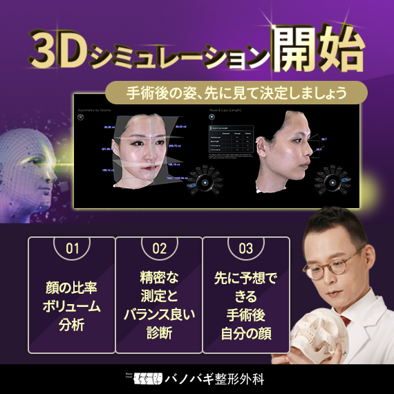 顔整形の変化を事前に予測する「先端3Dシミュレーション」の導入